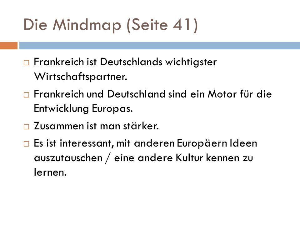Die Mindmap (Seite 41)  Frankreich ist Deutschlands wichtigster Wirtschaftspartner.