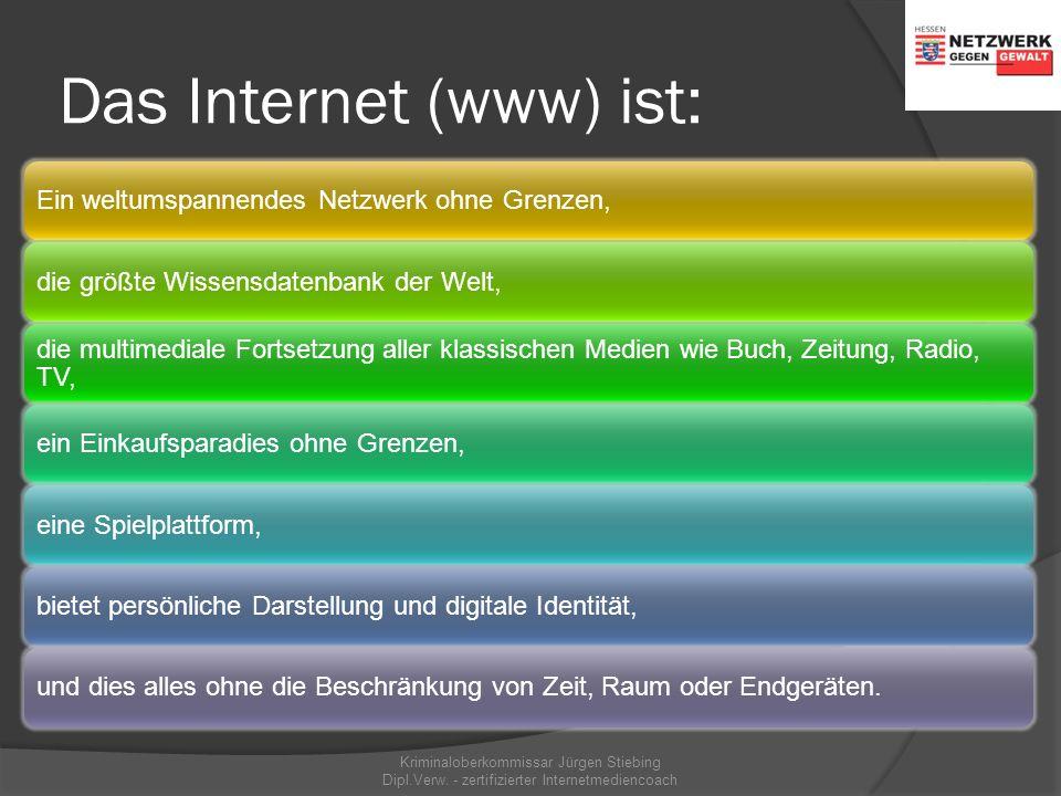Das Internet als Verbundmedium unterschiedliche Dienste mit unterschiedlichen technischen Strukturen Kriminaloberkommissar Jürgen Stiebing Dipl.Verw.