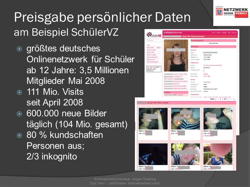 Preisgabe persönlicher Daten Kriminaloberkommissar Jürgen Stiebing Dipl.Verw. - zertifizierter Internetmediencoach