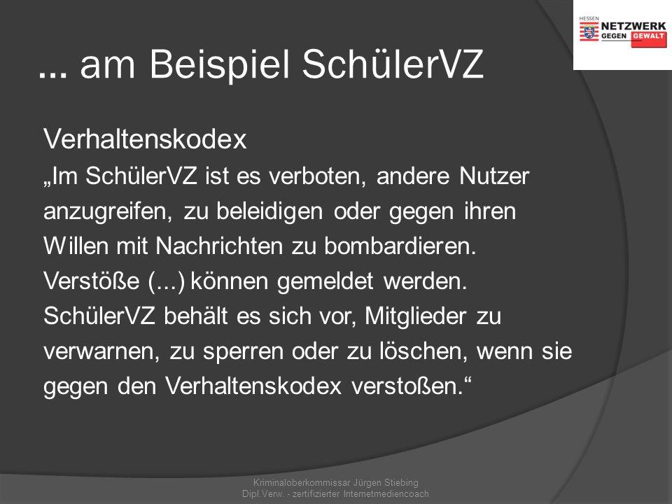 Preisgabe persönlicher Daten… …am Beispiel SchülerVZ Kriminaloberkommissar Jürgen Stiebing Dipl.Verw. - zertifizierter Internetmediencoach