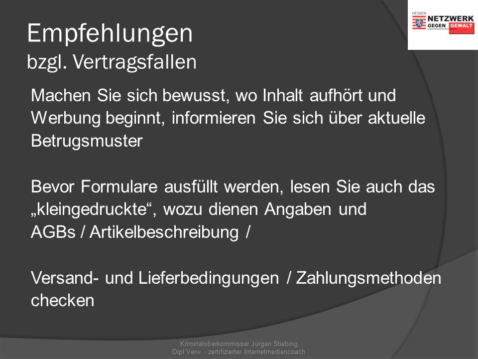 Vertragsfallen  www.routenplaner.com www.routenplaner.com Kriminaloberkommissar Jürgen Stiebing Dipl.Verw. - zertifizierter Internetmediencoach