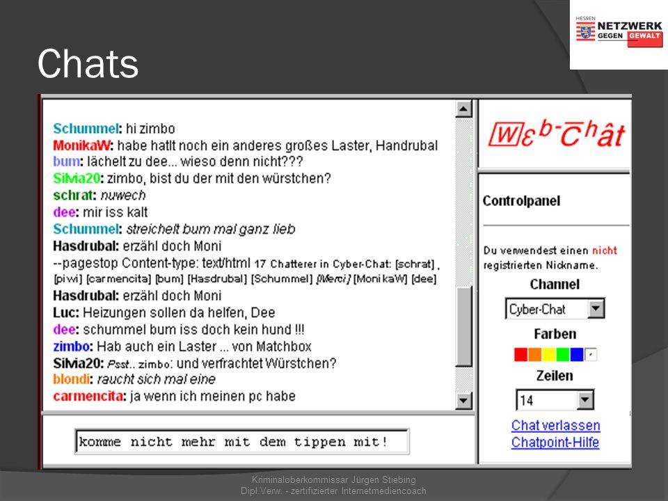 Chatrooms 30 % der Jugendlichen … nutzen mehr oder weniger regelmäßig Chats. Kriminaloberkommissar Jürgen Stiebing Dipl.Verw. - zertifizierter Interne