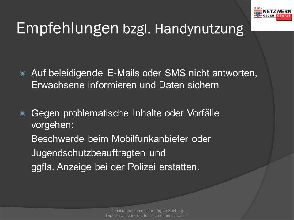 Empfehlungen bzgl. Handynutzung  Bei entgangenen Anrufen o. SMS von Unbekannten immer zuerst die Rückrufnummer prüfen  Informieren Sie sich über kon