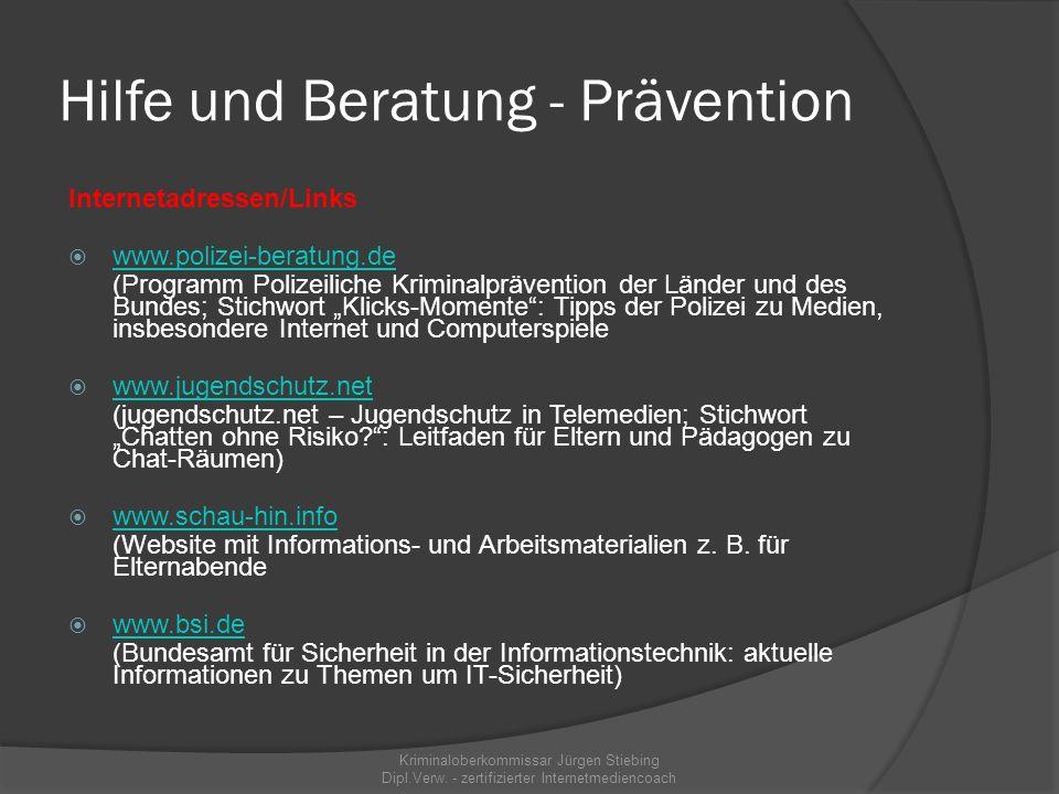 """Hilfe und Beratung - Prävention  """"cool sein – cool bleiben"""" (Antigewalttraining, in Osthessen nahezu flächenhaft)  Hilfs- und Beratungstelefon der P"""
