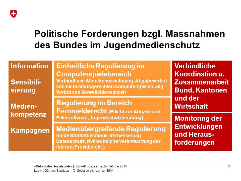 13«Reform des Sozialstaats» | IDEHAP | Lausanne, 25.