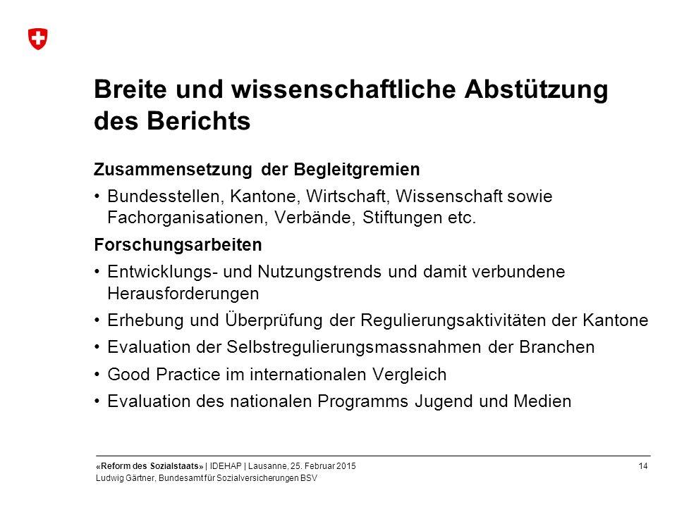 14«Reform des Sozialstaats» | IDEHAP | Lausanne, 25.