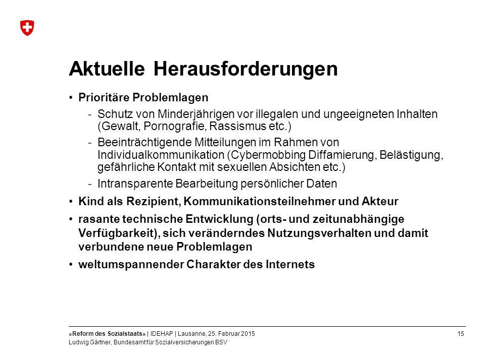 15«Reform des Sozialstaats» | IDEHAP | Lausanne, 25.