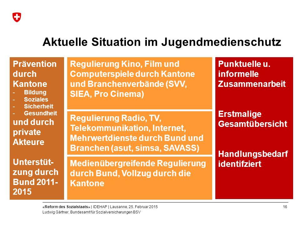 16«Reform des Sozialstaats» | IDEHAP | Lausanne, 25.
