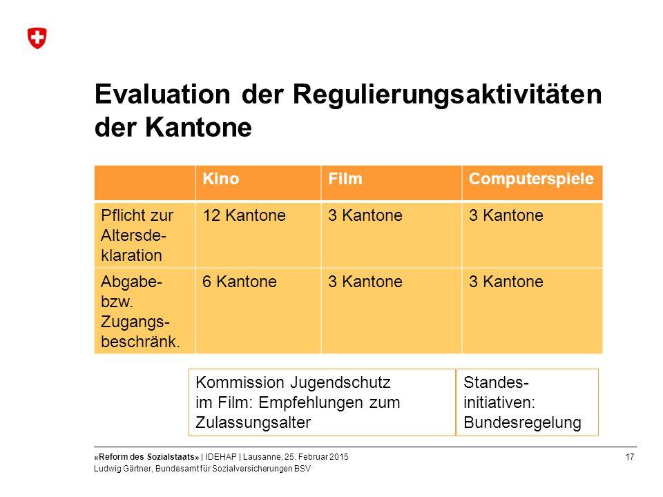 17«Reform des Sozialstaats» | IDEHAP | Lausanne, 25.