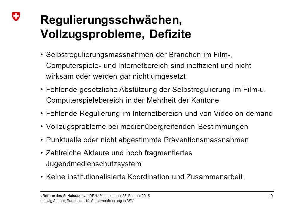 19«Reform des Sozialstaats» | IDEHAP | Lausanne, 25.