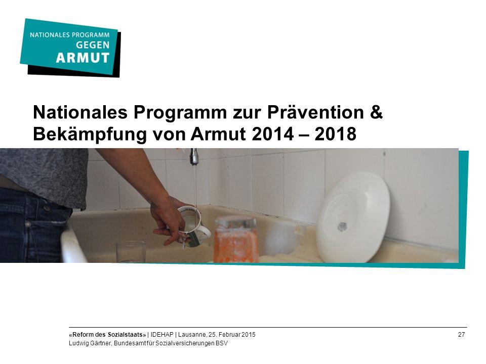 27«Reform des Sozialstaats» | IDEHAP | Lausanne, 25.