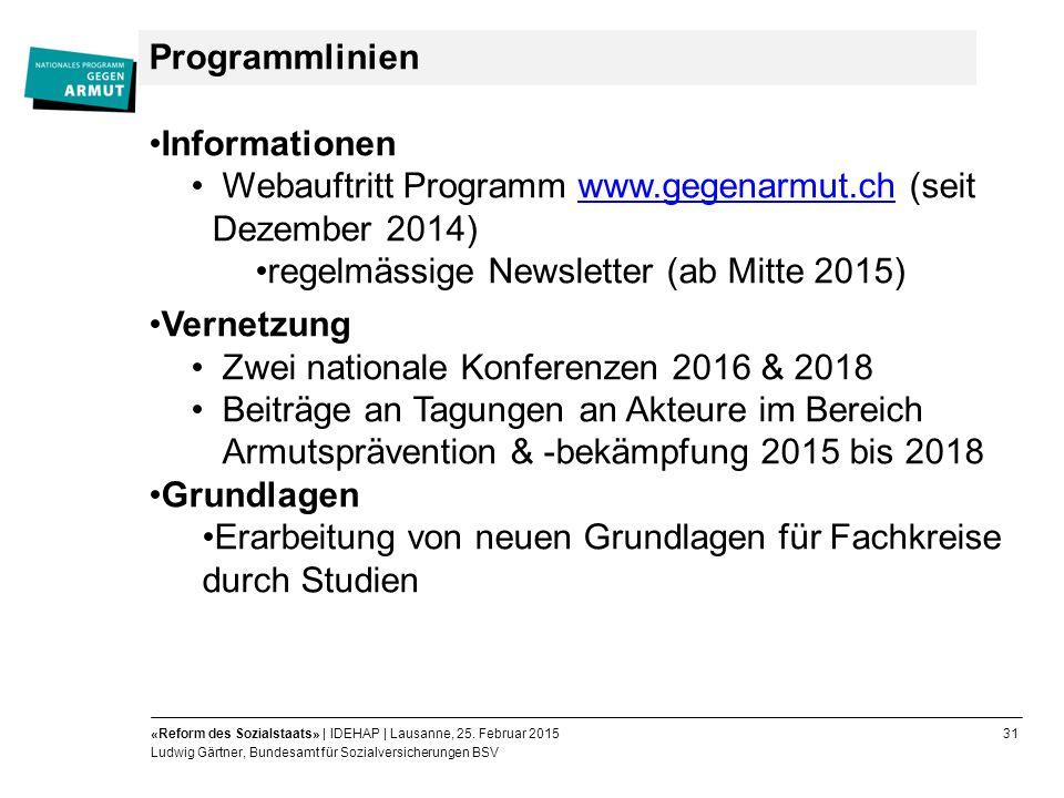 31«Reform des Sozialstaats» | IDEHAP | Lausanne, 25.