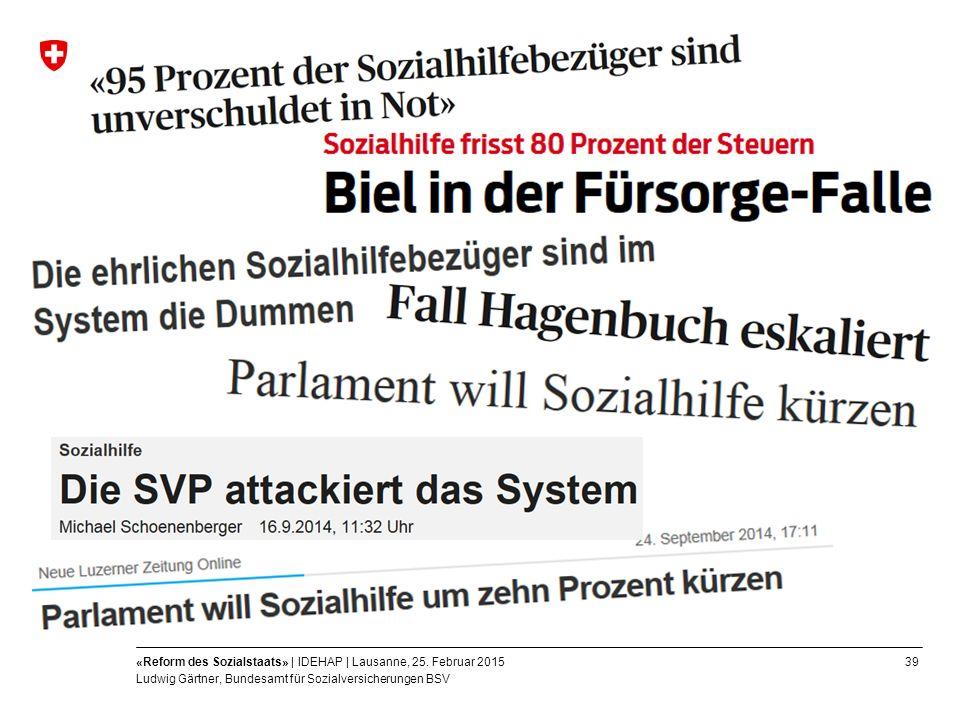 39«Reform des Sozialstaats» | IDEHAP | Lausanne, 25.