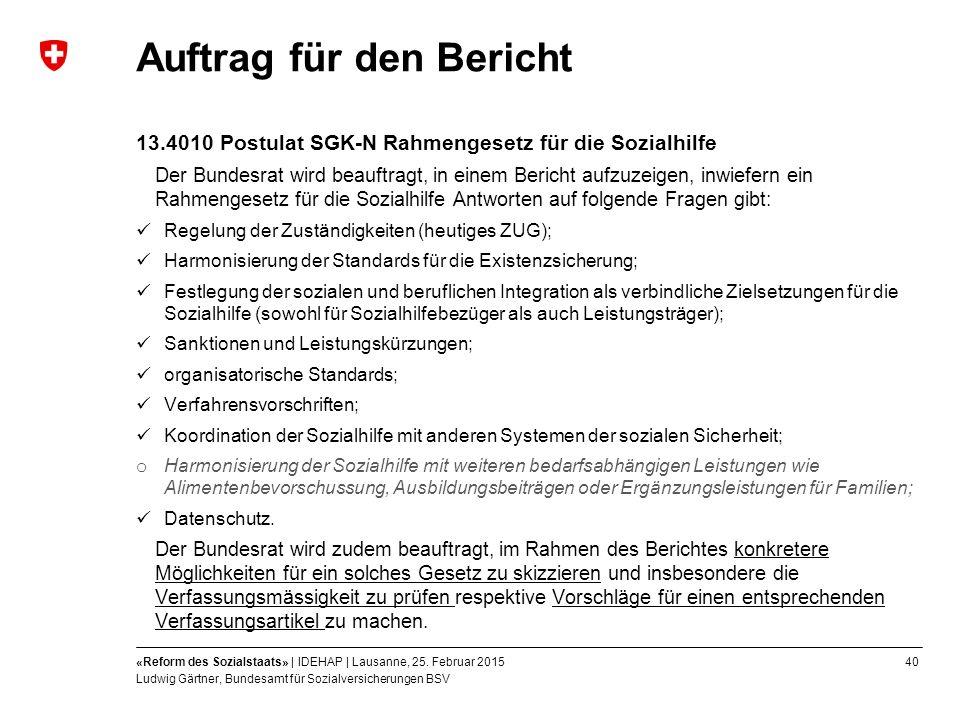 40«Reform des Sozialstaats» | IDEHAP | Lausanne, 25.