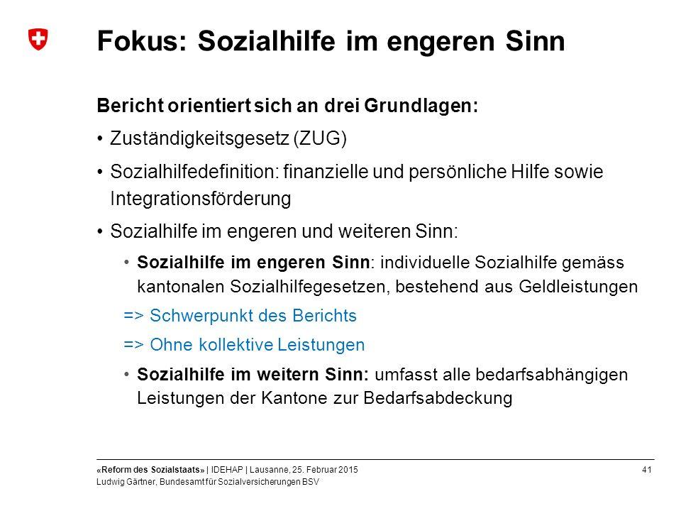 41«Reform des Sozialstaats» | IDEHAP | Lausanne, 25.