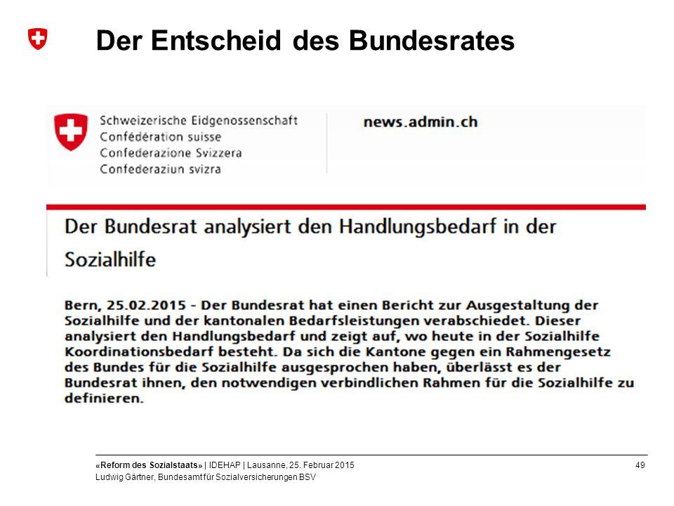 49«Reform des Sozialstaats» | IDEHAP | Lausanne, 25.