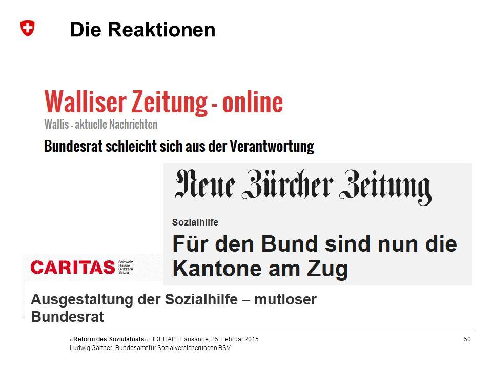 50«Reform des Sozialstaats» | IDEHAP | Lausanne, 25.