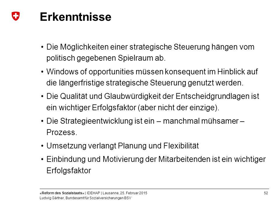 52«Reform des Sozialstaats» | IDEHAP | Lausanne, 25.