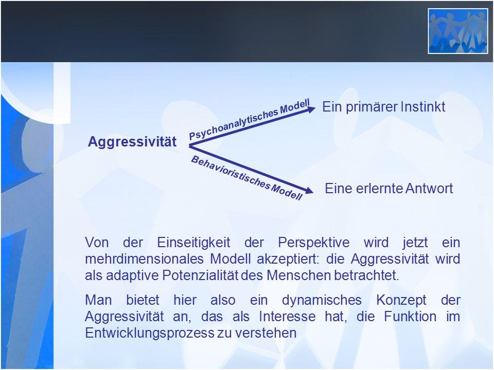 Ein primärer Instinkt Eine erlernte Antwort Aggressivität Psychoanalytisches Modell Behavioristisches Modell Von der Einseitigkeit der Perspektive wird jetzt ein mehrdimensionales Modell akzeptiert: die Aggressivität wird als adaptive Potenzialität des Menschen betrachtet.