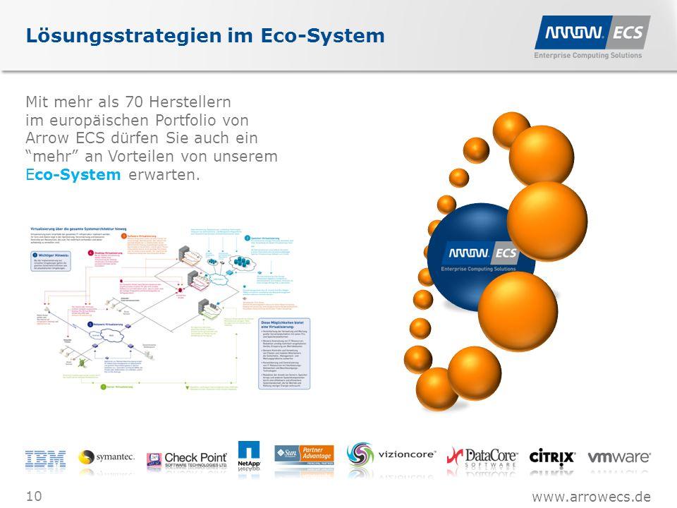 www.arrowecs.de Lösungsstrategien im Eco-System Mit mehr als 70 Herstellern im europäischen Portfolio von Arrow ECS dürfen Sie auch ein mehr an Vorteilen von unserem Eco-System erwarten.