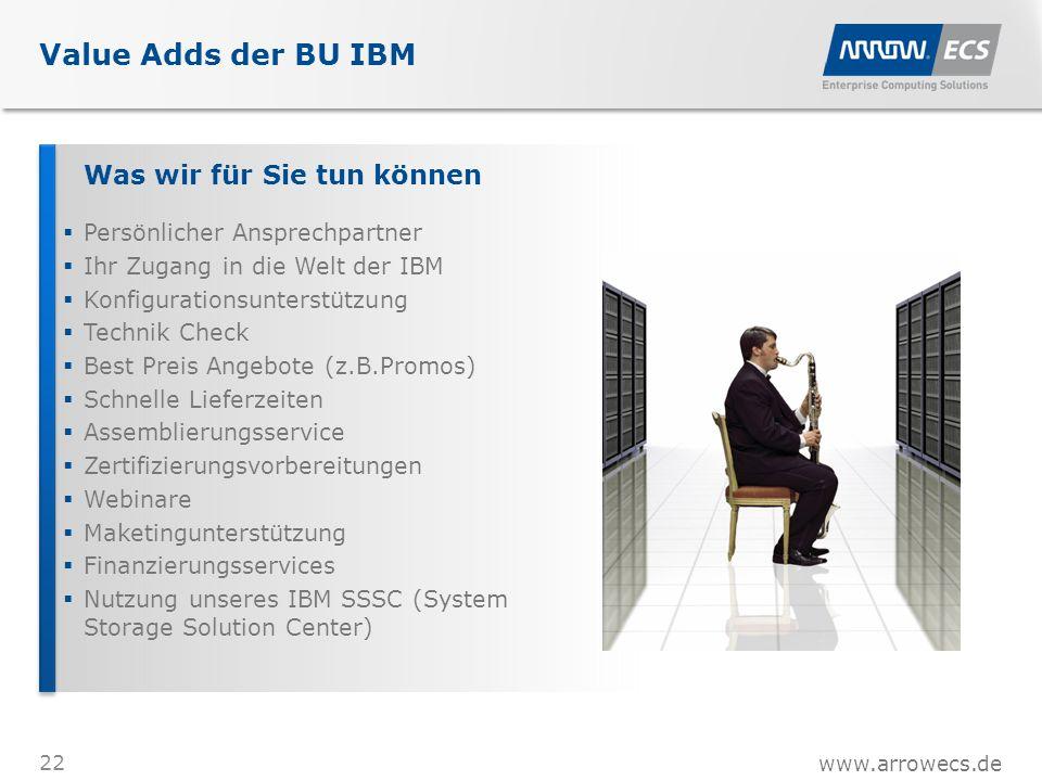 www.arrowecs.de Value Adds der BU IBM 22 Was wir für Sie tun können  Persönlicher Ansprechpartner  Ihr Zugang in die Welt der IBM  Konfigurationsunterstützung  Technik Check  Best Preis Angebote (z.B.Promos)  Schnelle Lieferzeiten  Assemblierungsservice  Zertifizierungsvorbereitungen  Webinare  Maketingunterstützung  Finanzierungsservices  Nutzung unseres IBM SSSC (System Storage Solution Center)