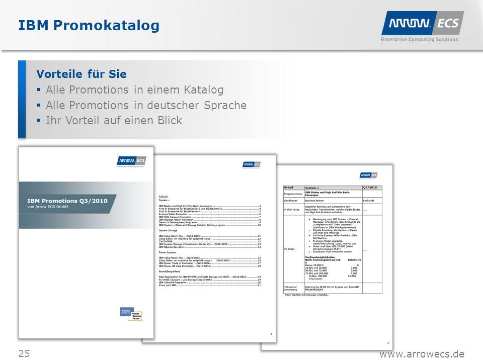 www.arrowecs.de IBM Promokatalog 25 Vorteile für Sie  Alle Promotions in einem Katalog  Alle Promotions in deutscher Sprache  Ihr Vorteil auf einen Blick