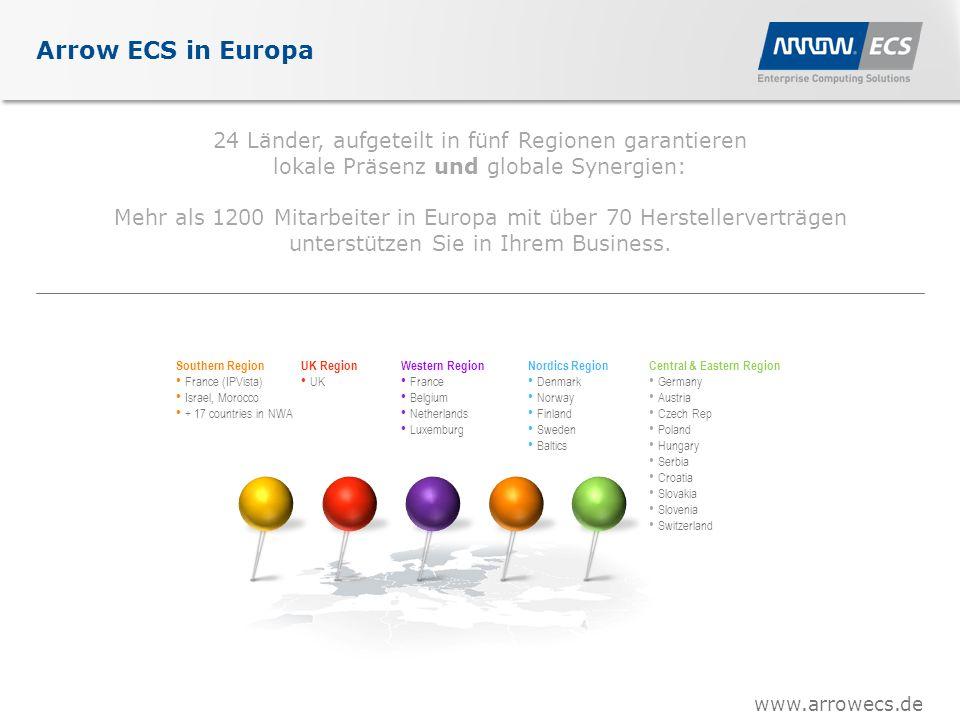 www.arrowecs.de 24 Länder, aufgeteilt in fünf Regionen garantieren lokale Präsenz und globale Synergien: Mehr als 1200 Mitarbeiter in Europa mit über 70 Herstellerverträgen unterstützen Sie in Ihrem Business.