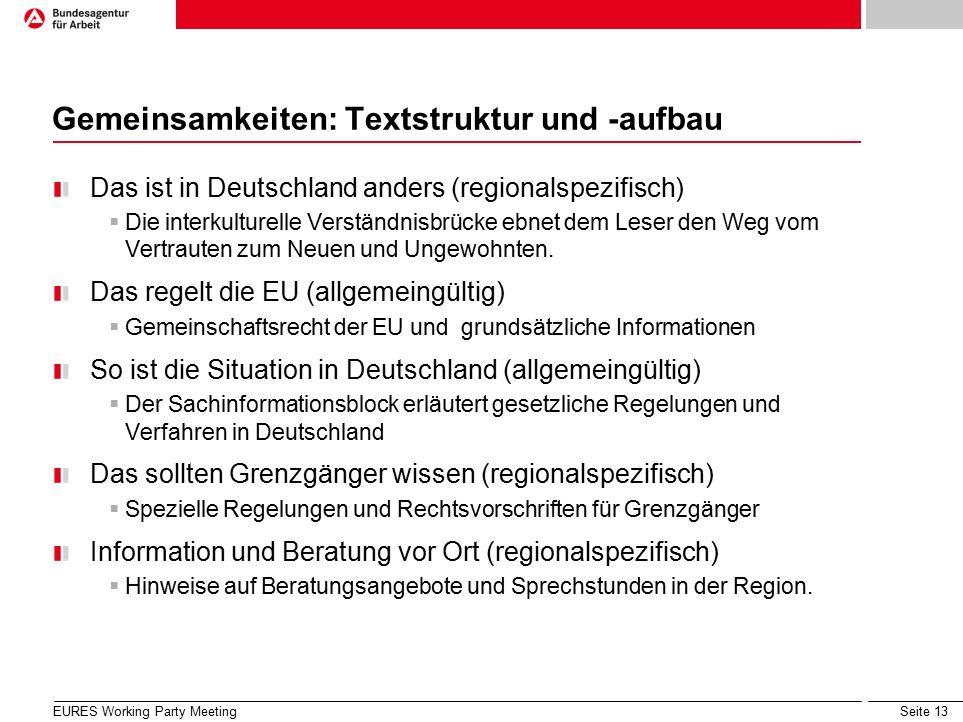 Seite 13 Gemeinsamkeiten: Textstruktur und -aufbau Das ist in Deutschland anders (regionalspezifisch)  Die interkulturelle Verständnisbrücke ebnet dem Leser den Weg vom Vertrauten zum Neuen und Ungewohnten.