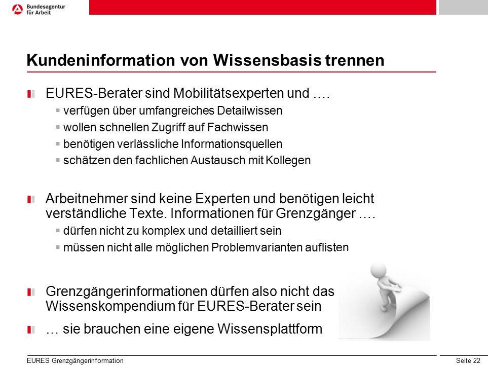 Seite 22 Kundeninformation von Wissensbasis trennen EURES-Berater sind Mobilitätsexperten und ….