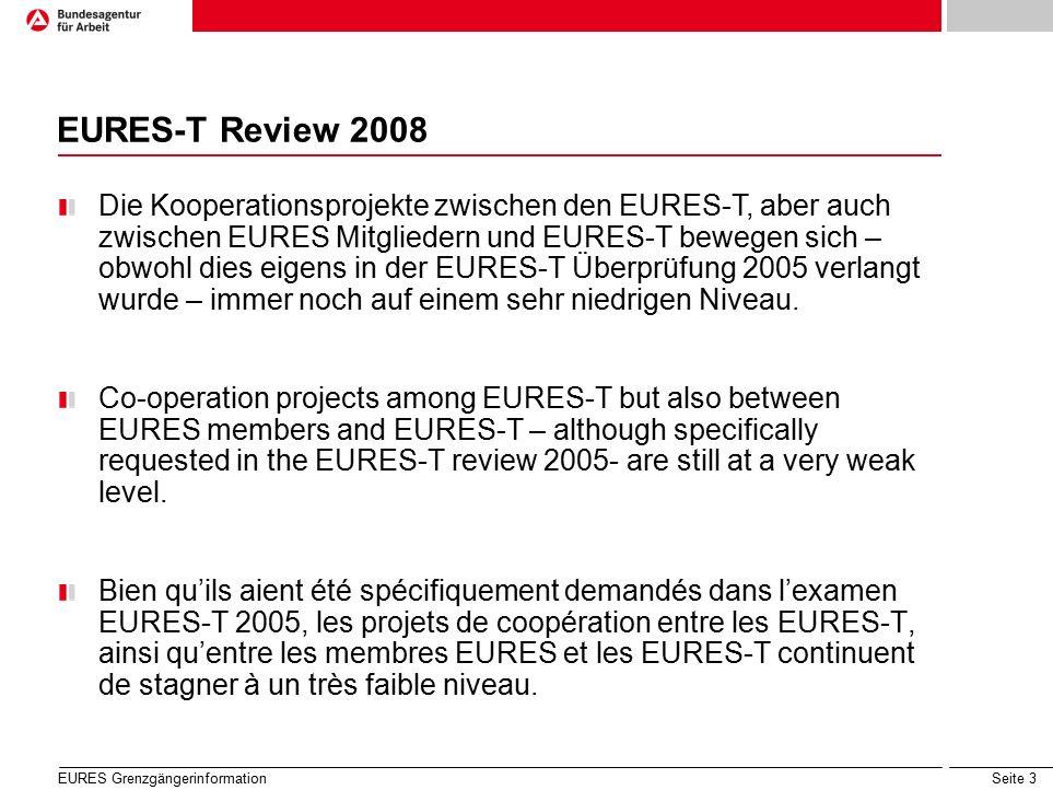 Seite 3 EURES-T Review 2008 Die Kooperationsprojekte zwischen den EURES-T, aber auch zwischen EURES Mitgliedern und EURES-T bewegen sich – obwohl dies eigens in der EURES-T Überprüfung 2005 verlangt wurde – immer noch auf einem sehr niedrigen Niveau.