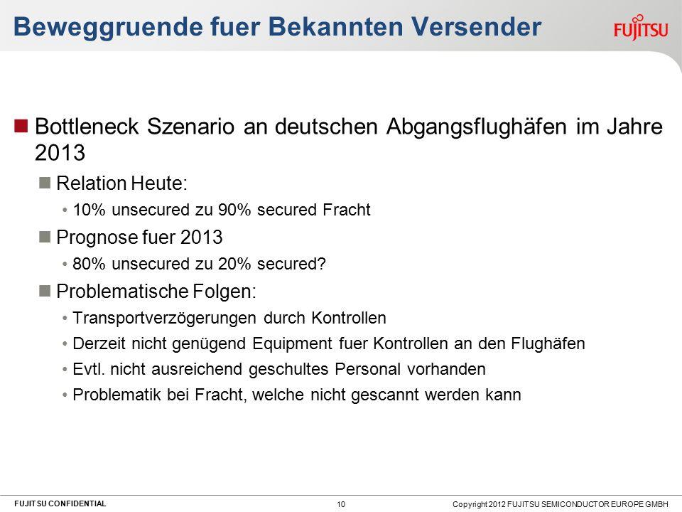 FUJITSU CONFIDENTIAL Beweggruende fuer Bekannten Versender Bottleneck Szenario an deutschen Abgangsflughäfen im Jahre 2013 Relation Heute: 10% unsecured zu 90% secured Fracht Prognose fuer 2013 80% unsecured zu 20% secured.