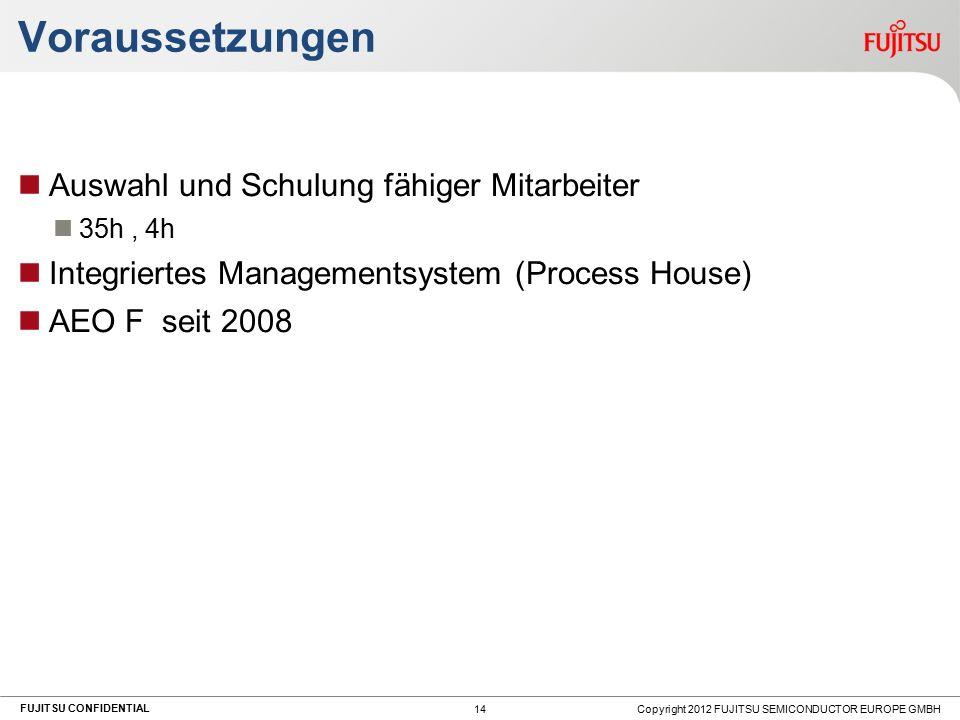FUJITSU CONFIDENTIAL Voraussetzungen Auswahl und Schulung fähiger Mitarbeiter 35h, 4h Integriertes Managementsystem (Process House) AEO F seit 2008 Copyright 2012 FUJITSU SEMICONDUCTOR EUROPE GMBH 14