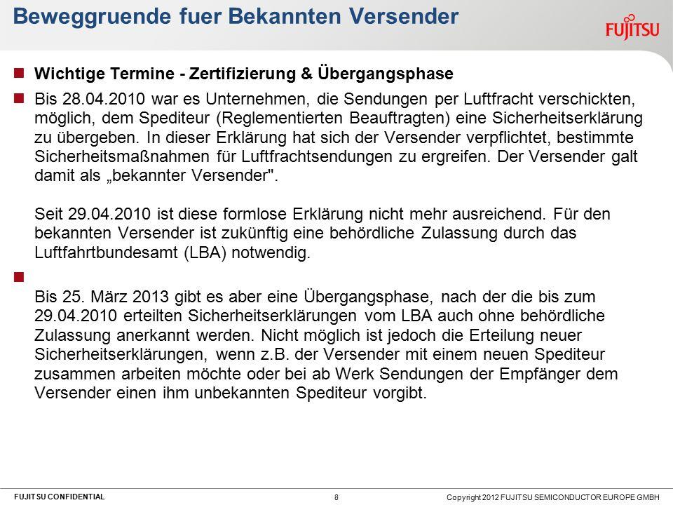 FUJITSU CONFIDENTIAL Beweggruende fuer Bekannten Versender Wichtige Termine - Zertifizierung & Übergangsphase Bis 28.04.2010 war es Unternehmen, die S