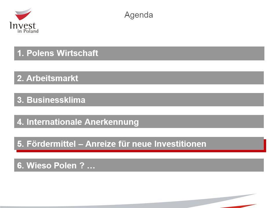 1. Polens Wirtschaft 2. Arbeitsmarkt 4. Internationale Anerkennung 5.