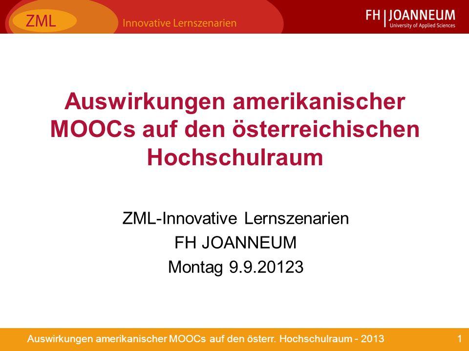 1Auswirkungen amerikanischer MOOCs auf den österr.