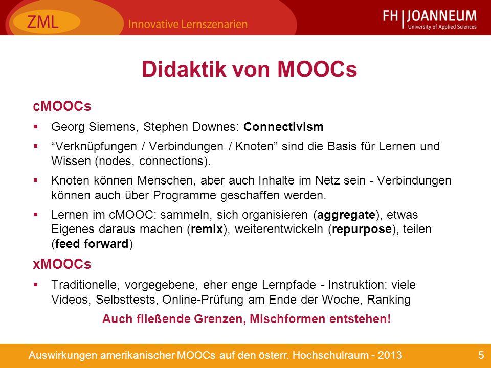 5Auswirkungen amerikanischer MOOCs auf den österr.