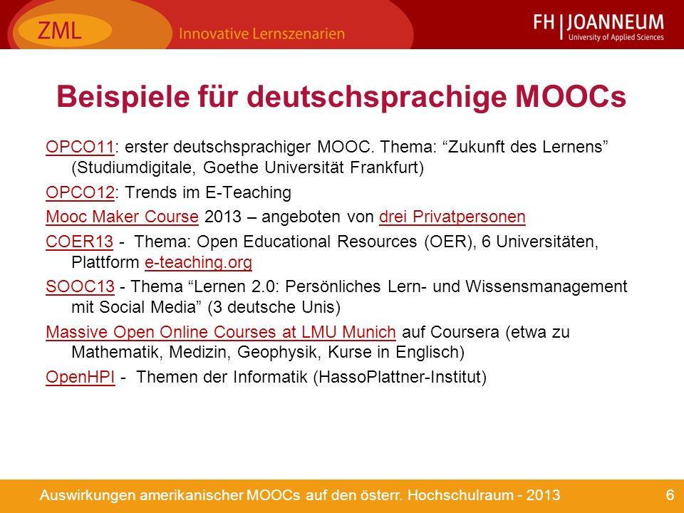 6Auswirkungen amerikanischer MOOCs auf den österr.