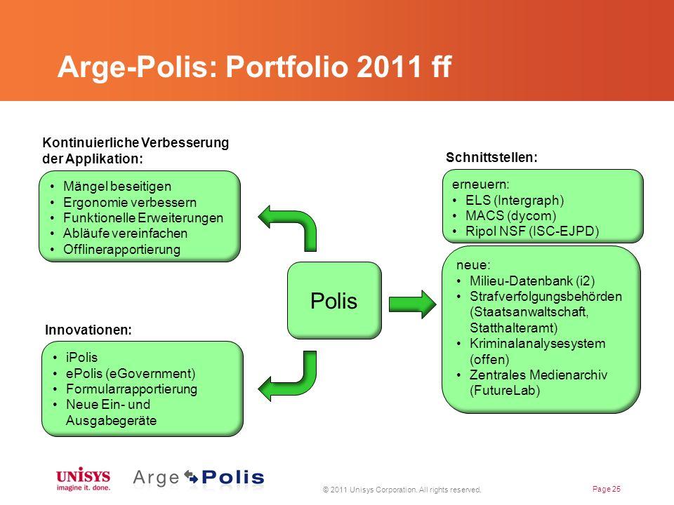 Arge-Polis: Portfolio 2011 ff © 2011 Unisys Corporation.