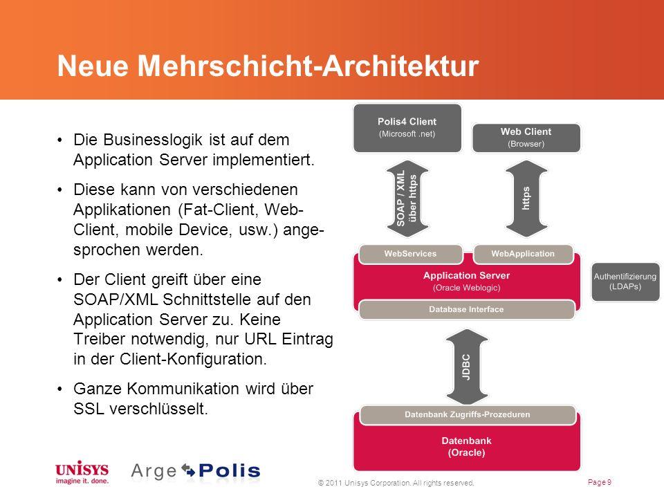 Neue Mehrschicht-Architektur Die Businesslogik ist auf dem Application Server implementiert.