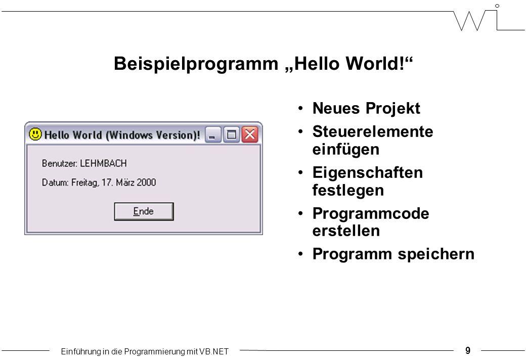 """Einführung in die Programmierung mit VB.NET Beispielprogramm """"Hello World! Neues Projekt Steuerelemente einfügen Eigenschaften festlegen Programmcode erstellen Programm speichern 9"""