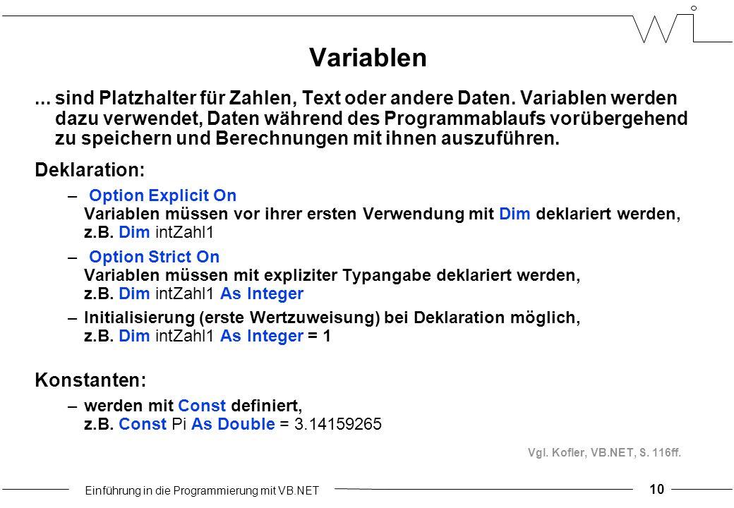 Einführung in die Programmierung mit VB.NET Variablen...