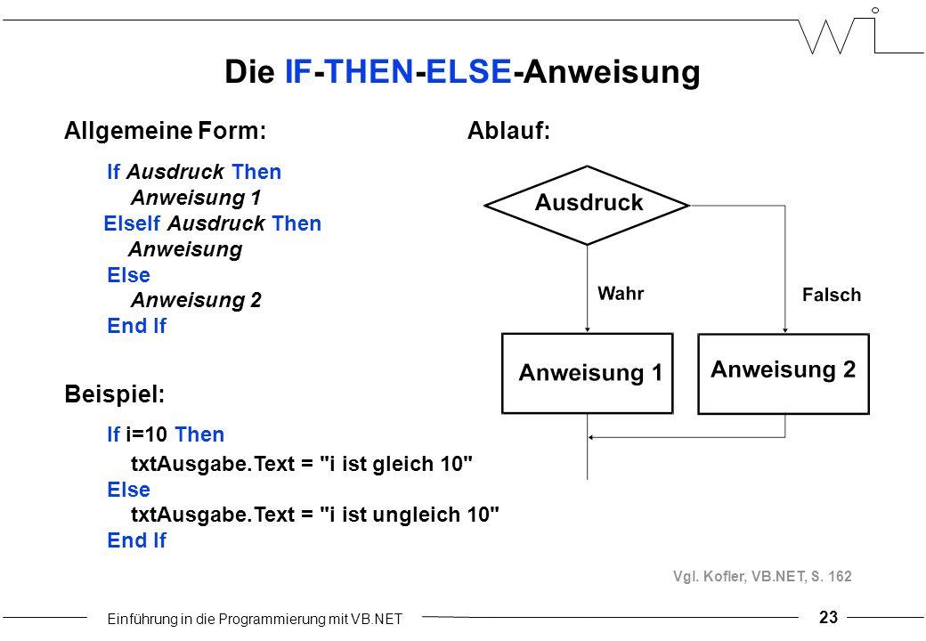 Einführung in die Programmierung mit VB.NET 23 Die IF-THEN-ELSE-Anweisung Ablauf:Allgemeine Form: If Ausdruck Then Anweisung 1...