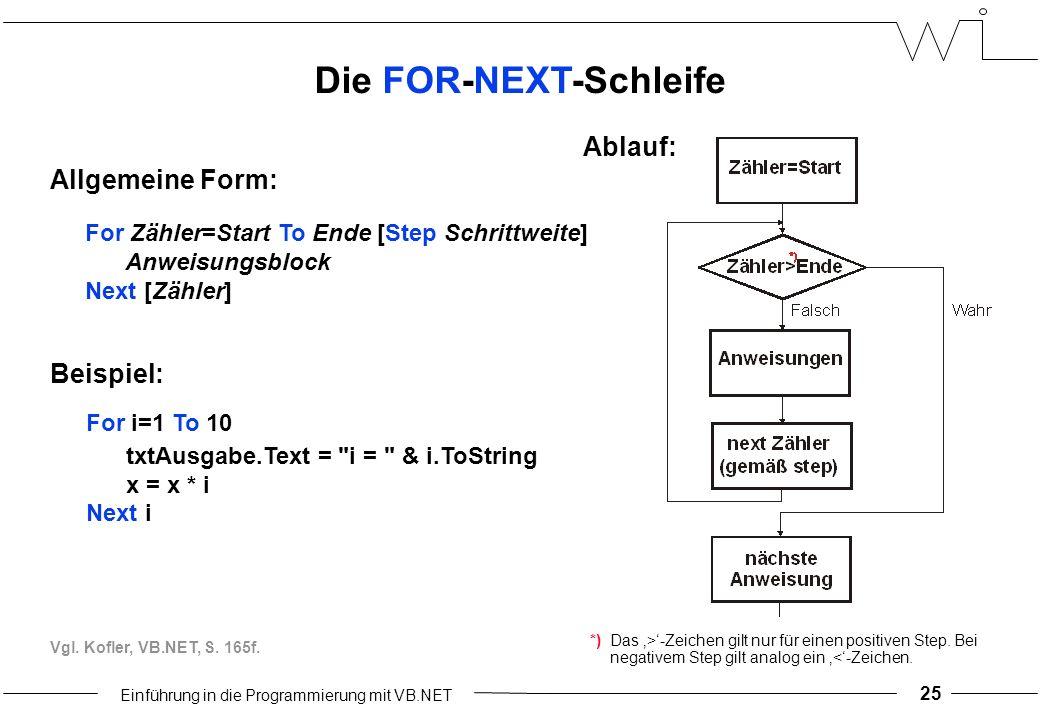 Einführung in die Programmierung mit VB.NET 25 Die FOR-NEXT-Schleife Ablauf: Allgemeine Form: For Zähler=Start To Ende [Step Schrittweite] Anweisungsblock Next [Zähler] Beispiel: For i=1 To 10 txtAusgabe.Text = i = & i.ToString x = x * i Next i *)Das '>'-Zeichen gilt nur für einen positiven Step.