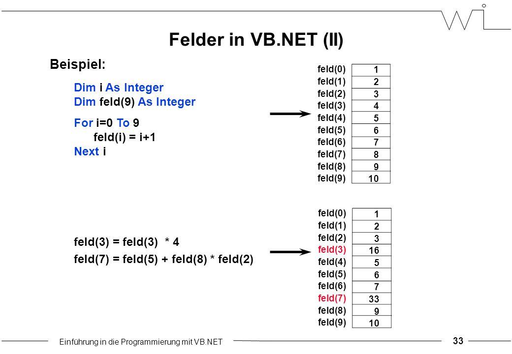 Einführung in die Programmierung mit VB.NET 33 feld(0) feld(1) feld(2) feld(3) feld(4) feld(5) feld(6) feld(7) feld(8) feld(9) 1 2 3 4 5 6 7 8 9 10 Dim i As Integer Dim feld(9) As Integer For i=0 To 9 feld(i) = i+1 Next i feld(3) = feld(3) * 4 feld(7) = feld(5) + feld(8) * feld(2) Beispiel: feld(0) feld(1) feld(2) feld(3) feld(4) feld(5) feld(6) feld(7) feld(8) feld(9) 1 2 3 16 5 6 7 33 9 10 Felder in VB.NET (II)