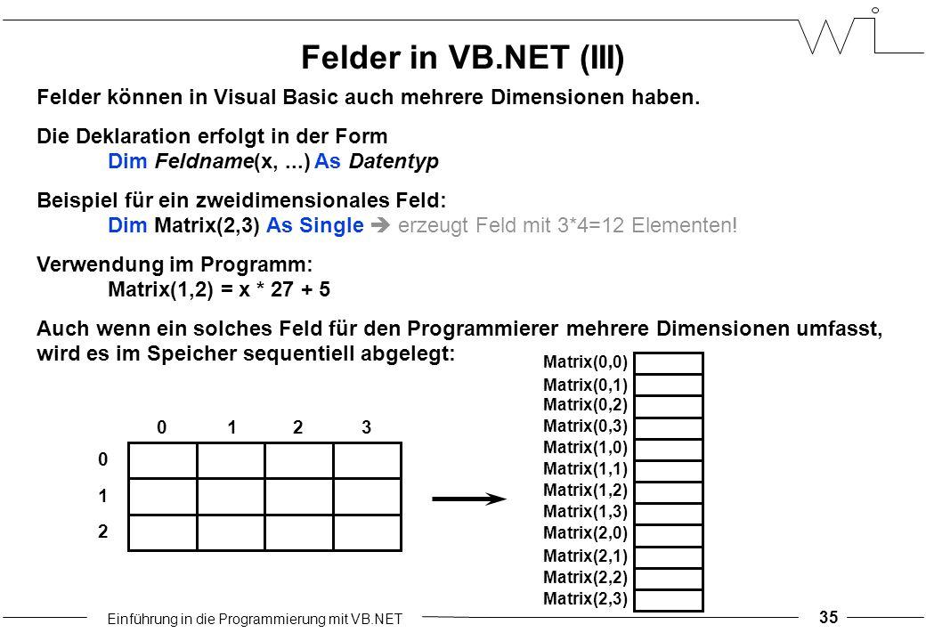 Einführung in die Programmierung mit VB.NET 35 Felder können in Visual Basic auch mehrere Dimensionen haben.