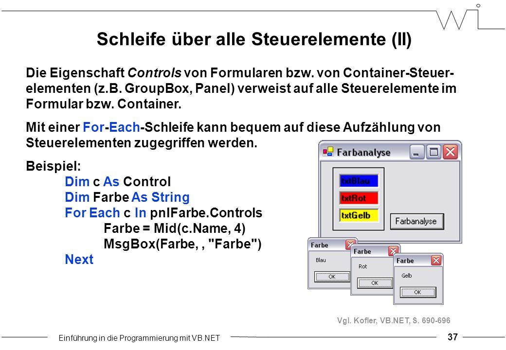 Einführung in die Programmierung mit VB.NET 37 Die Eigenschaft Controls von Formularen bzw.