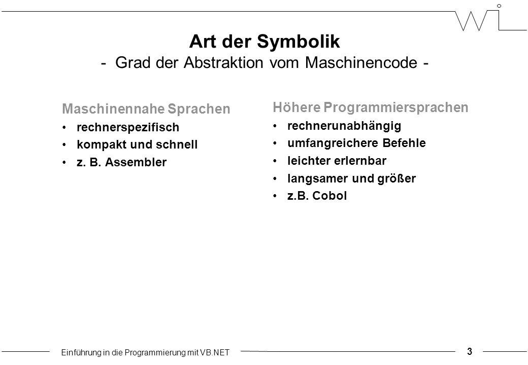 Einführung in die Programmierung mit VB.NET Art der Symbolik - Grad der Abstraktion vom Maschinencode - Maschinennahe Sprachen rechnerspezifisch kompakt und schnell z.