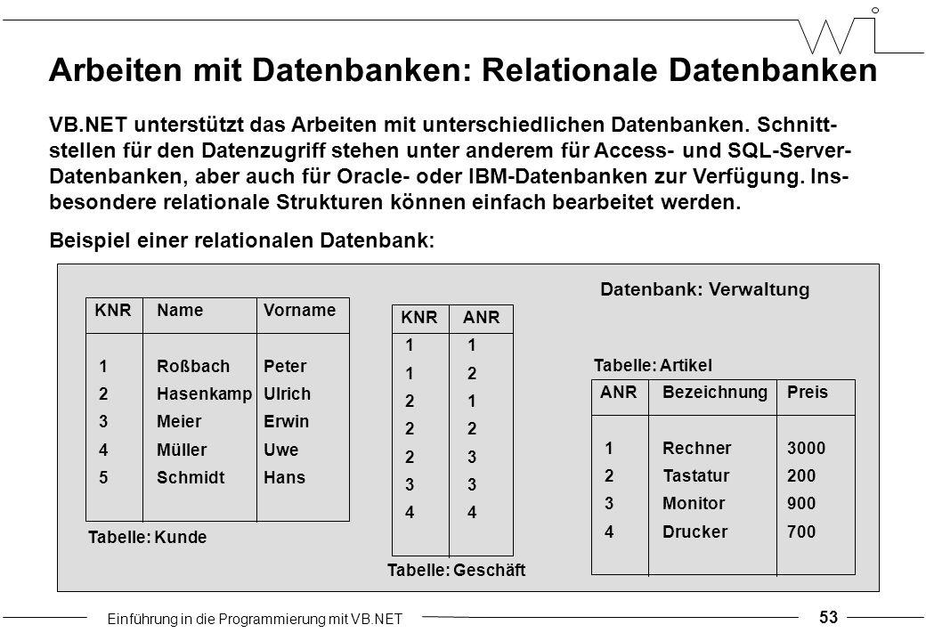 Einführung in die Programmierung mit VB.NET 53 Arbeiten mit Datenbanken: Relationale Datenbanken VB.NET unterstützt das Arbeiten mit unterschiedlichen Datenbanken.