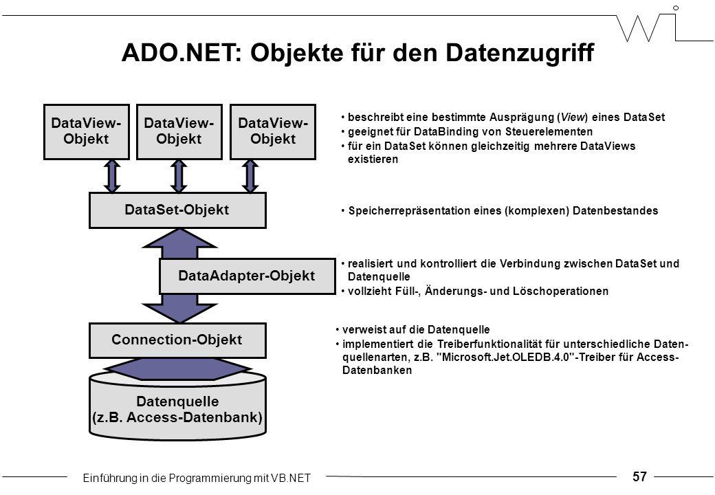 Einführung in die Programmierung mit VB.NET 57 ADO.NET: Objekte für den Datenzugriff Datenquelle (z.B.