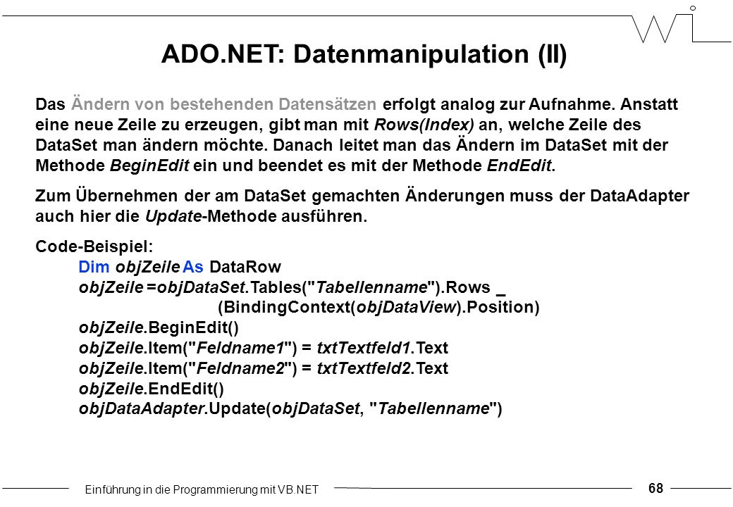Einführung in die Programmierung mit VB.NET 68 Das Ändern von bestehenden Datensätzen erfolgt analog zur Aufnahme.